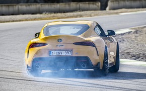 Picture asphalt, yellow, smoke, coupe, Toyota, track, Supra, the fifth generation, mk5, double, 2020, GR Above, …