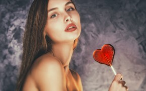 Picture look, girl, face, background, portrait, Lollipop, sponge, candy, shoulder, Andrew Incognito, Irina Sysoeva