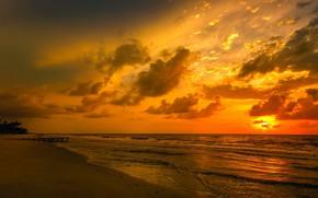 Picture BEACH, SEA, HORIZON, The SKY, SAND, CLOUDS, SURF, PIER, SUNSET, COAST