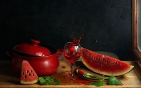 Picture wine, glass, watermelon, pan, still life