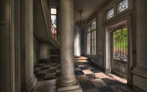 Picture the door, columns, hole