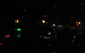 Picture glass, night, lights, rasfokus, огни большо