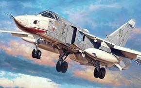 Picture art, Su-24, Dry, Ukrainian air force, Bomber
