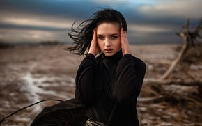 Picture look, girl, face, the wind, hands, makeup, brunette, Alexey Yuriev