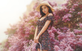 Picture look, girl, hat, dress, basket, lilac, Alexander Drobkov-Light, Angelina Sorokina