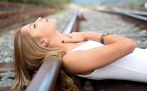 Picture girl, pose, earrings, makeup, railroad, lies