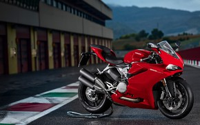 Picture background, track, red, is, Ducati, moto, wheel, sportbike, on the stand, sportbike, red motorcycle, Ducati …