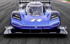 Picture blue, Volkswagen, prototype, front view, track, prototype, 2019, I.D. R