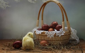 Picture holiday, basket, eggs, Easter, chicken, napkin, eggs, Kovaleva Svetlana, Svetlana Kovaleva