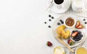 Picture berries, coffee, Breakfast, juice, jam