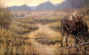 Picture autumn, look, shore, boat, figure, picture, art, painting, pond, hunter, moose, rowers