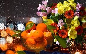 Picture flowers, rain, bouquet, oranges, still life