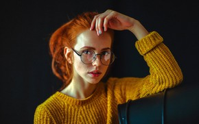 Picture look, face, pose, model, hand, portrait, makeup, glasses, hairstyle, freckles, black background, in yellow, redhead, …
