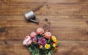 Picture flowers, bouquet, lake, flower, wood, decor