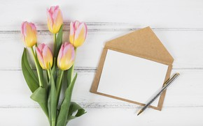 Picture handle, tulips, wood, the envelope, tulip, bouguet
