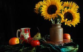 Picture sunflowers, apples, vase, pear, pitcher, fruit, vegetables, tomatoes, черный фрн