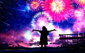Picture the sky, girl, night, fireworks, Starfall