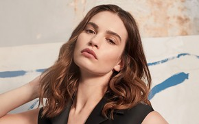 Picture look, girl, face, actress, beautiful, Lily James