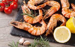 Picture table, lemon, tomatoes, bokeh, shrimp, garlic