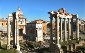 Picture Rome, Italy, columns, ruins, Palatine, Arch of Septimius Severus