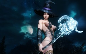 Picture girl, hat, staff