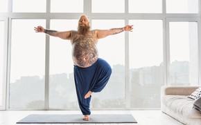 Picture pose, tattoos, yoga, beard, fat