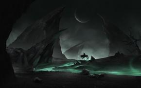 Picture Horse, Night, Rocks, The moon, The way, Warrior, Moon, Fantasy, Art, Art, Landscape, Warrior, Night, …