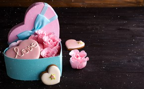 Picture box, gift, heart, roses, colorful, love, heart, romantic, roses, cookies, gift box