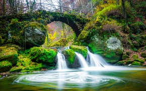 Picture autumn, forest, leaves, trees, bridge, Park, stream, stones, waterfall, moss, Luxembourg, Mullerthal Region