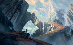 Picture fantasy, tower, sky, trees, mountains, clouds, rocks, waterfall, castle, artist, digital art, artwork, fantasy art, …