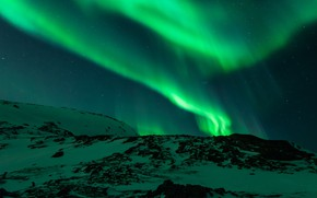 Picture snow, mountains, lights, Norway, polar lights, Aurora Borealis