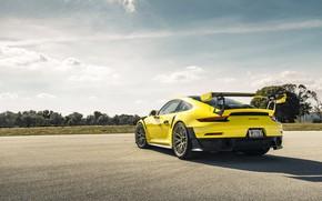 Picture Porsche, Yellow, 991, VAG, GT2RS, Rear part