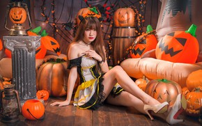 Wallpaper girl, pumpkin, Halloween, Asian, cutie, 31 Oct