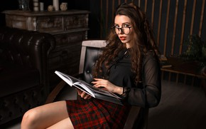 Picture look, sexy, pose, room, sofa, model, skirt, portrait, interior, makeup, figure, glasses, hairstyle, blouse, book, …