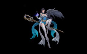 Picture Girl, Fantasy, Art, Style, Background, Illustration, Dress, Wizard, Figure, Character, Staff, LIU Mingxing, Spell