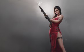 Picture Red, Girl, Fog, The game, Asian, Dress, Weapons, Beauty, Resident Evil, Beauty, Game, Weapon, Fan …