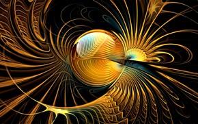 Picture line, abstraction, fiction, Wallpaper, fractals, curves, sphere, black background, picture, Golden fantasy