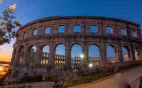 Picture night, Croatia, amphitheatre, Pool