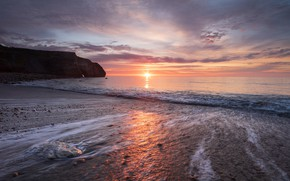 Picture sea, sunrise, rocks, dawn, coast, morning, North sea