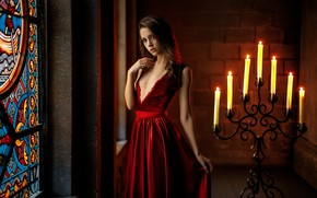 Picture look, pose, fire, model, portrait, candles, makeup, dress, hairstyle, brown hair, beauty, is, in red, …