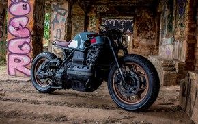Picture engine, tuning, BMW, motorcycle, the ruins, black, moto, custom, BMW K100