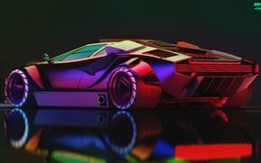 Picture Auto, Lamborghini, Neon, Machine, Car, Art, Supercar, Neon, Countach, Rendering, Concept Art, Lamborghini Countach, Cyberpunk …