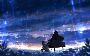 Picture girl, piano, Starfall