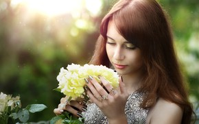 Picture look, girl, flowers, pose, portrait, roses, ring, bokeh