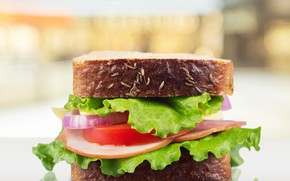 Picture food, bread, sandwich, vegetables, tomatoes, sausage