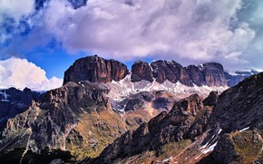 Picture the sun, clouds, mountains, stones, rocks, Italy, gorge, Sella Group