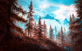 Picture autumn, mountains, ate, Skyrim, by WatchTheSkiies