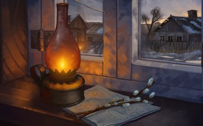 Picture art, houses, window, painting, lamp, branches, homes, illustration, newspaper, 4k uhd background, still life photography