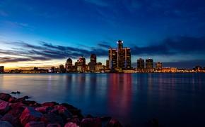Picture river, stones, building, home, Michigan, night city, skyscrapers, Detroit, Detroit, Michigan, Detroit River, The Detroit …