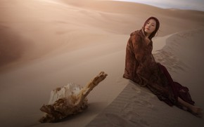 Picture sand, girl, pose, desert, dress, brunette, dunes, costume, outfit, snag, Asian, sitting, Sands, Cape, photoshoot, …